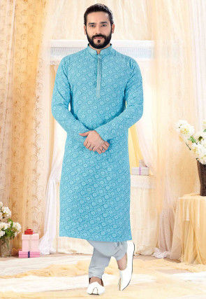 Chikankari Georgette Kurta Set in Light Blue
