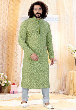 Chikankari Georgette Kurta Set in Light Green
