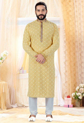 Chikankari Georgette Kurta Set in Light Yellow