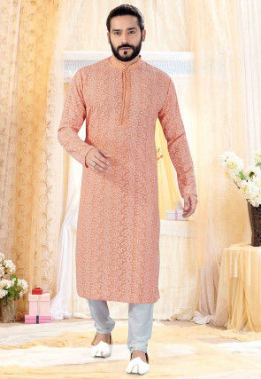 Chikankari Georgette Kurta Set in Peach