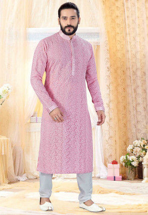 Chikankari Georgette Kurta Set in Pink