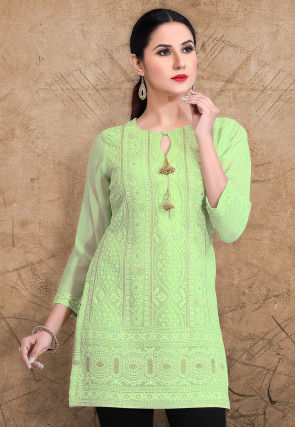 Chikankari Georgette Kurti in Light Green