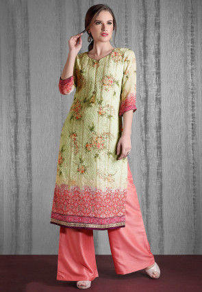 Chikankari Georgette Straight Kurta Set in Dusty Green and Peach