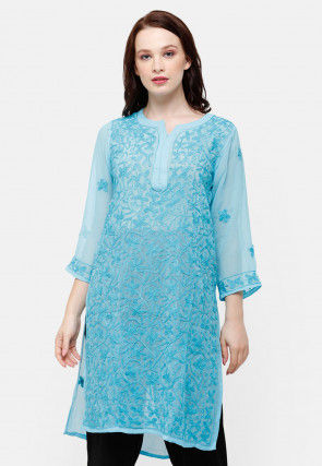Chikankari Georgette Straight Kurti in Light Blue