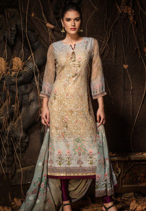 Chikankari Viscose Georgette Straight Suit in Beige