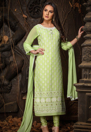 Chikankari Viscose Georgette Straight Suit in Light Green