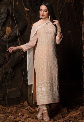 Chikankari Viscose Georgette Straight Suit in Peach