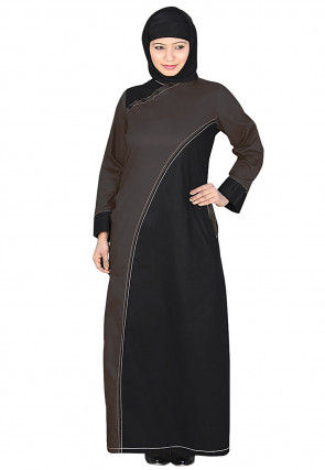 Color Block Cotton Abaya with Hijab in Black and Brown