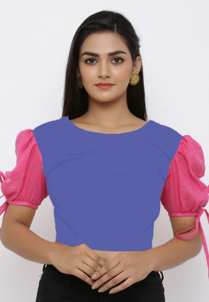 Color Block Cotton Blouse in Indigo Blue and Pink
