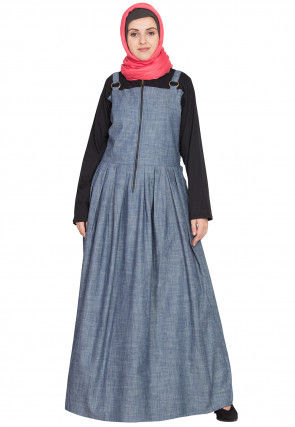 Color Block Cotton Dungaree Style Abaya in Light Blue and Black