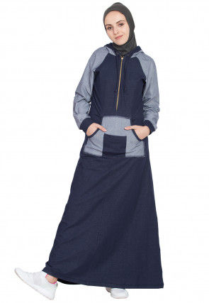 Color Block Cotton Front Zipper Hooded Abaya in Blue and Grey