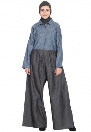 Color Block Cotton Pant Style Abaya in Light Blue and Dark Grey