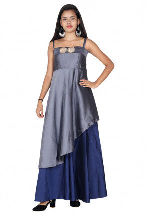 Color Block Cotton Satin Strappy Gown in Grey and Navy Blue