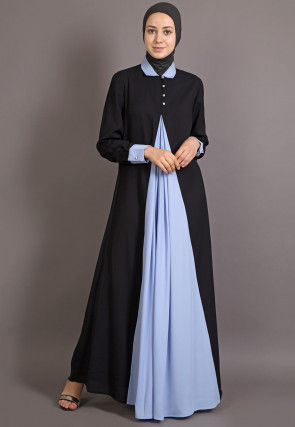 Color Block Nida Contrast Front Panel Abaya in Black and Blue