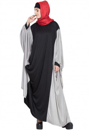 Color Block Polyester Kaftan Style Abaya in Black and Grey