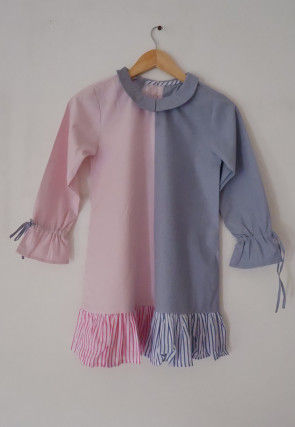 Color Block Ruffled Cotton Kids Tunic in Pink and Blue