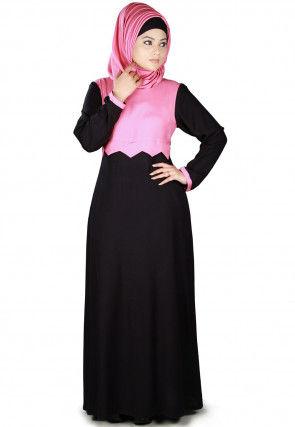 Color Block Viscose Rayon Abaya in Black and Pink