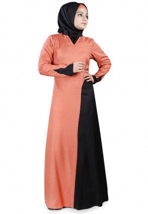 Color Block Viscose Rayon Abaya in Pastel Orange and Black