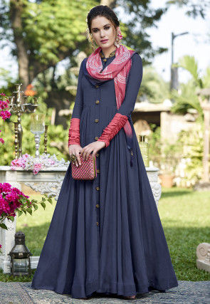 Color Blocked Art Silk Abaya Style Suit in Navy Blue