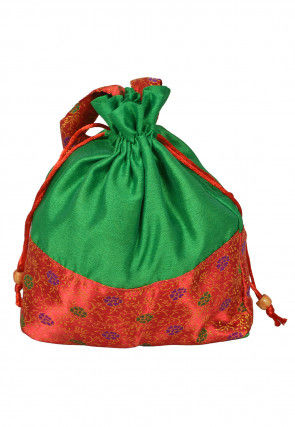 Color Blocked Art Silk Potli Bag in Green and Red
