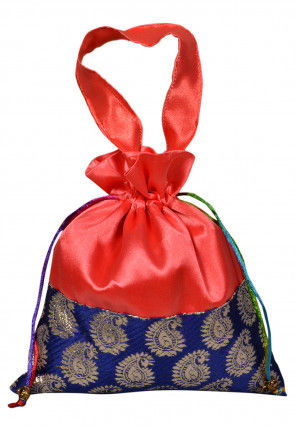 Color Blocked Art Silk Potli Bag in Red and Blue