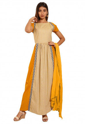Color Blocked Cotton Abaya Style Suit in Mustard and Beige