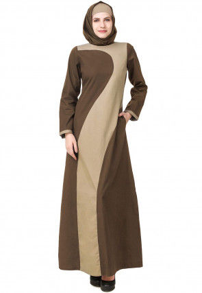 Color Blocked Cotton Abaya with Jacket in Brown and Beige