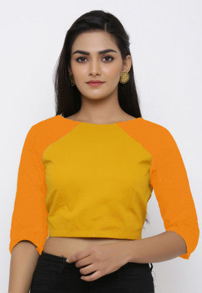 Color Blocked Cotton Back Cut Blouse in Mustard and Orange