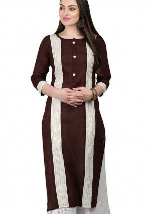 Color Blocked Cotton Kurta in Brown