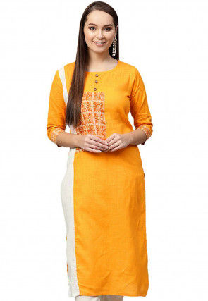 Color Blocked Cotton Kurta in Mustard and Off White