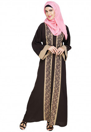 Color Blocked Cotton Linen Dubai Style Abaya in Brown