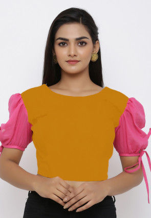 Color Blocked Cotton Padded Blouse in Mustard and Pink