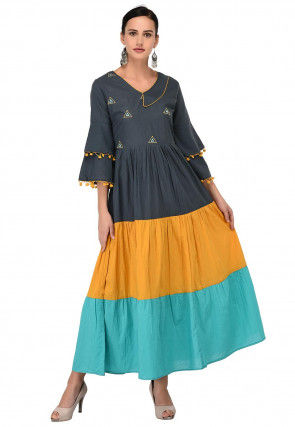 Color Blocked Cotton Tiered Dress in Multicolor