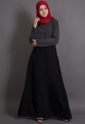 Color Blocked Crepe Abaya in Grey and Black