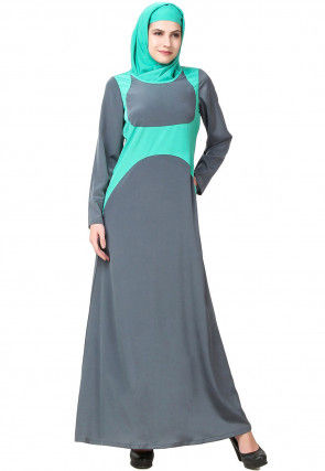 Color Blocked Crepe Abaya in Grey and Light Teal Green