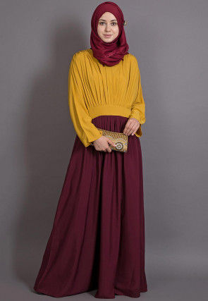Color Blocked Crepe Abaya in Mustard and Maroon