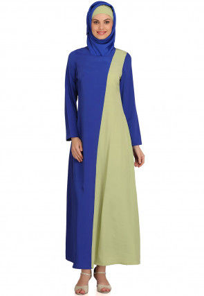 Color Blocked Crepe Abaya with Jacket in Blue and Pastel Green