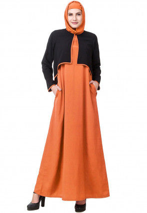 Color Blocked Crepe Abaya with Jacket in Orange and Black