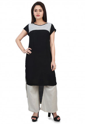Color Blocked Crepe and Georgette High Low Kurta Set in Black