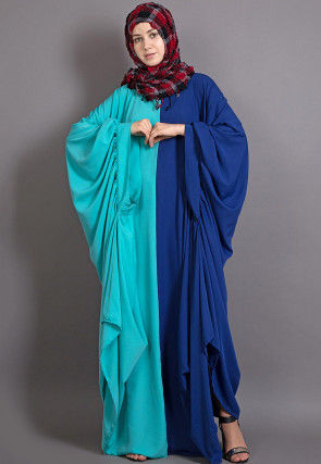 Color Blocked Crepe Kaftan in Turquoise and Royal Blue