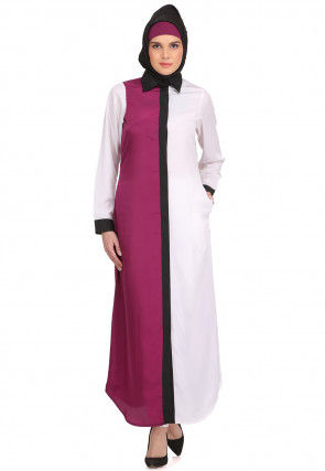 Color Blocked Crepe Kurta in Magenta and Off White
