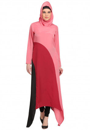 Color Blocked Crepe Side Drop Kurta in Pink and Red