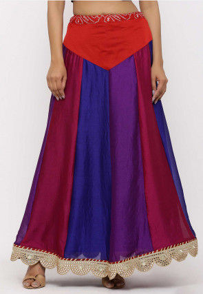 Color Blocked Crepe Skirt in Multicolor