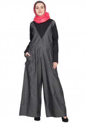 Color Blocked Demin Cotton Jumpsuit Style Abaya in Black