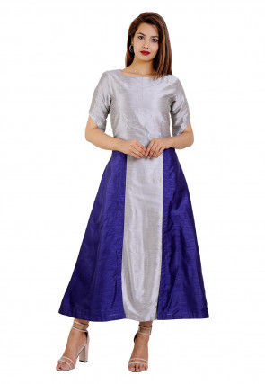 Color Blocked Dupion Silk A Line Kurta in Grey and Navy Blue