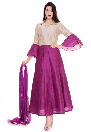 Color Blocked Dupion Silk Abaya Style Suit in Magenta and Light Fawn