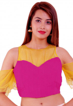 Color Blocked Dupion Silk Blouse in Fuchsia and Yellow