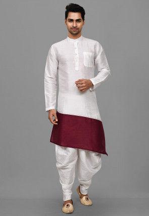 Color Blocked Dupion Silk Dhoti Kurta in White and Maroon
