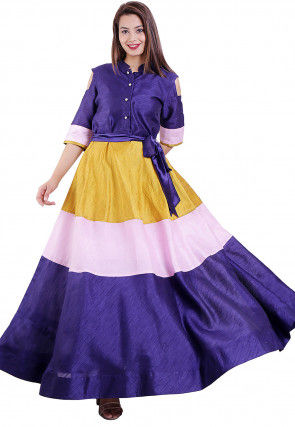 Color Blocked Dupion Silk Flared Gown in Indigo Blue and Mustard