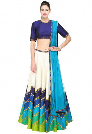 Color Blocked Dupion Silk Lehenga in Off White and Blue